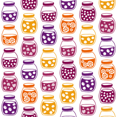 tinned: Fun seamless pattern with the colorful fruit jam jars. Shadeless plane ornate. Simple background with jam jars for decoration. Illustration