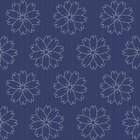 Ornement de broderie traditionnelle japonaise avec la floraison des fleurs de sakura. Vector seamless pattern. Sashiko motif - la floraison des fleurs de cerisier. toile de fond floral. Needlework texture.