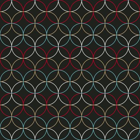 Plain round background. Based on Traditional Japanese Embroidery. Abstract Seamless pattern. Based on Sashiko stitching - shippo-tsunagi. Çizim