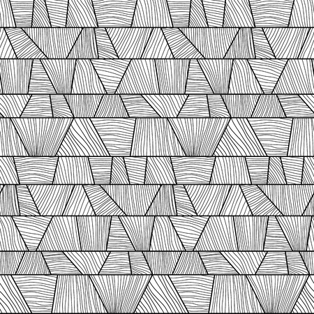 trapezium: Abstract mosaic  pattern with hand-drawn wavy elements. Monochrome puzzle background for decoration or backdrop. Stylized texture with trapeziums.  Seamless vector.