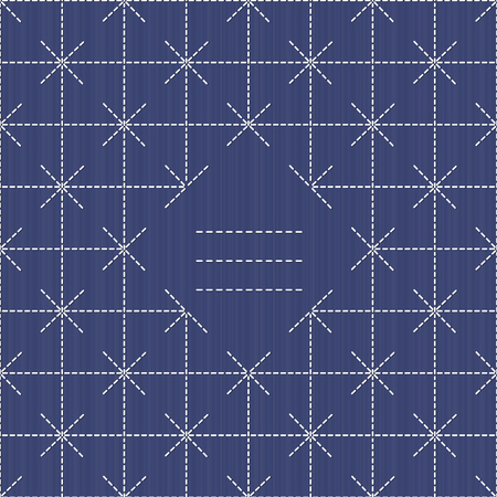 space for text: Monochrome sashiko motif with copy space for text. Japanese handiwork invitation. Text frame. Abstract japanese needlework. Decorative texture. Can be used as seamless pattern. Illustration