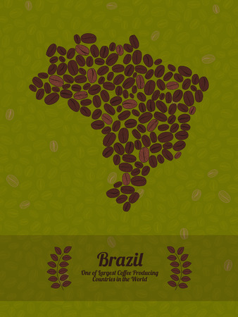 green coffee beans: Map of Brazil made out of coffee beans. Raw green coffee beans background. Coffee beans flyer or leaflet. Brazil map poster or card.