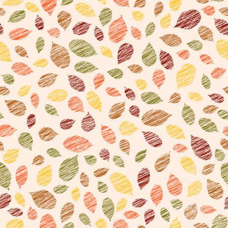 scraped: Autumn texture with scraped raspberry leaves. Warm seamless pattern. Plain endless background with blackberry leaves for decoration. Grunge illustration. Scratched  texture. Illustration