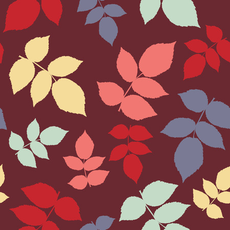 bramble: Seamless pattern for wallpaper, web page background, surface textures. Dark warm colors. Autumn template. Pattern fills. Plain background with blackberry or raspberry leaves for decoration or printing on fabric.