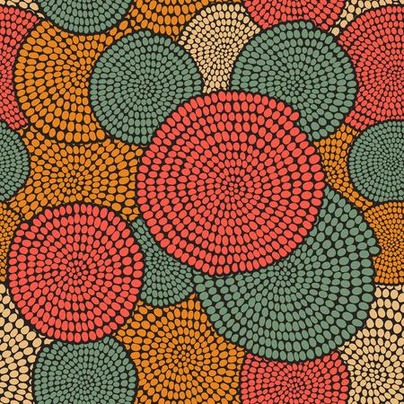arte africano: Dibujado a mano del ornamento tradicional africana. Textura estilizada con arcos y c�rculos. c�lido fondo llano para la decoraci�n o tel�n de fondo. Vectores