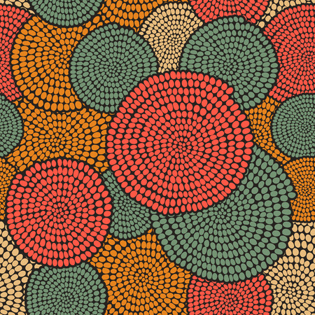 textile fabrics: Hand drawn Traditional  African Ornament. Stylized texture with arcs and circles. Plain warm  background for decoration or backdrop.