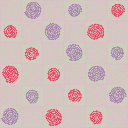 pale colors: Plain checked ornament with swirls and spairals for decoration or background. Pale colors.