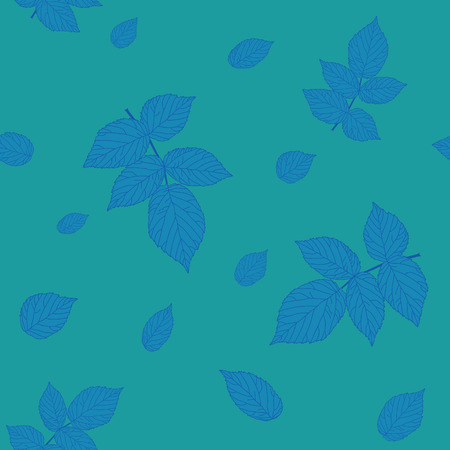 bramble: Green and blue colored seamless pattern with raspberry leaves. Plain endless background with blackberry or raspberry leaves for decoration.