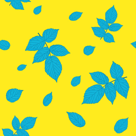 plain: Contrast yellow and blue colored seamless pattern with raspberry leaves. Plain endless background with blackberry or raspberry leaves for decoration.