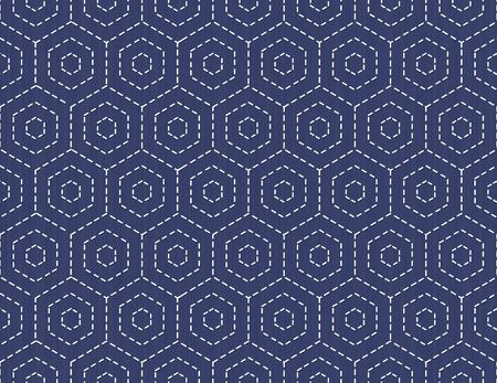 古い伝統的な手仕事。暗い青色の背景上の六角形の様式化されたシームレスなテクスチャです。