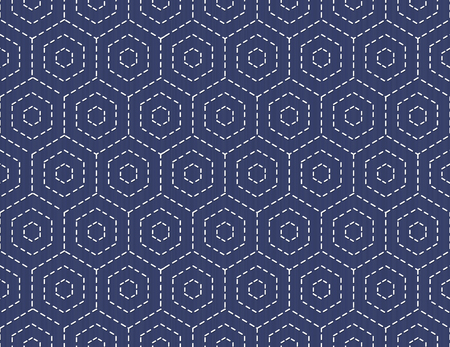 handiwork: Old traditional handiwork. Stylized Seamless texture with hexagons on the dark blue background.