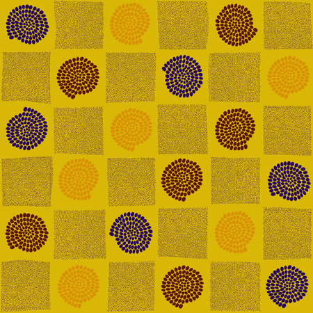 checked: Plain checked ornament with swirls and spairals for decoration or background. Bright colors.