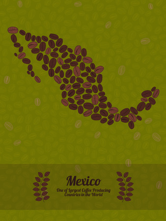Map of Mexico made out of coffee beans. Raw green coffee beans background. Coffee beans flyer or leaflet. Mexico map poster or card.