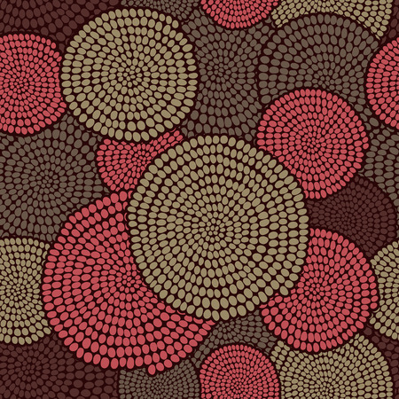 arcs: Hand drawn Traditional  African Ornament. Stylized texture with arcs and circles. Plain warm background for decoration or backdrop. Illustration