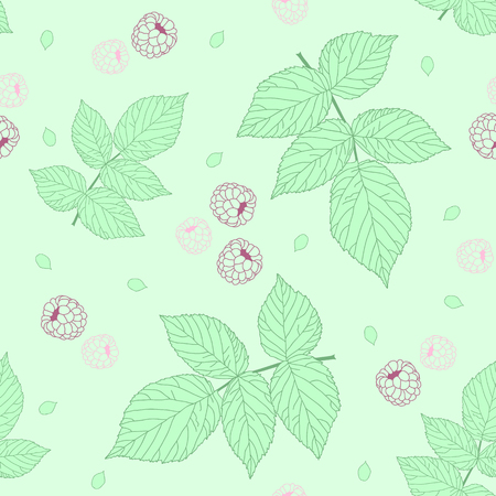 bramble: Light Seamless pattern with raspberries and green raspberry leaves. Pastel colors. Plain endless background with blackberry or raspberry leaves for decoration.