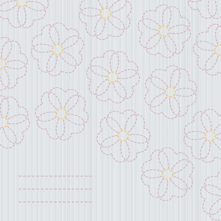 日本のキルティング。刺し子のバナーです。さくらの花。桜。コピーのテキストのための領域とキルティングの古典。花のはがき。桜の花のバナー  イラスト・ベクター素材