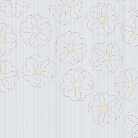 space for text: Japanese quilting. Sashiko banner. Sakura flowers. Cherry Blossom. Classic quilting with copy space for text. Floral postcard. Banner with sakura blossoms. Beige colors. Illustration