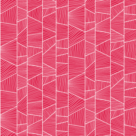 trapeze: Abstract mosaic  pattern with hand-drawn wavy elements. Stylized texture with colorful trapeziums. Pink puzzle background for decoration or backdrop. Seamless vector.
