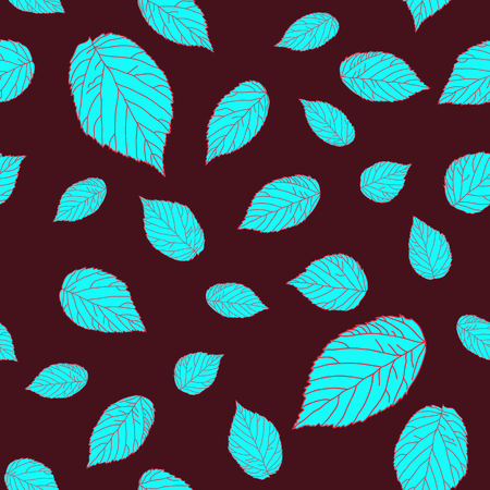 bramble: Contrast seamless pattern with blue raspberry leaves on a brown-red field. Plain Endless background with blackberry or raspberry leaves for decoration.
