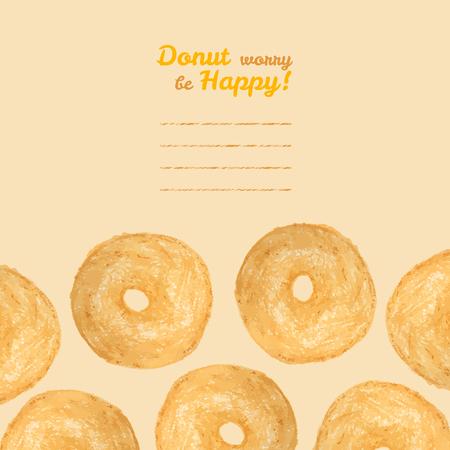 'Donut worry be Happy' invitation. Vector illustration of doughnut. Colored Pencils Drawing. Donut illustration. Decorative Text frame with baked Donuts. Tasty dessert card. Illusztráció