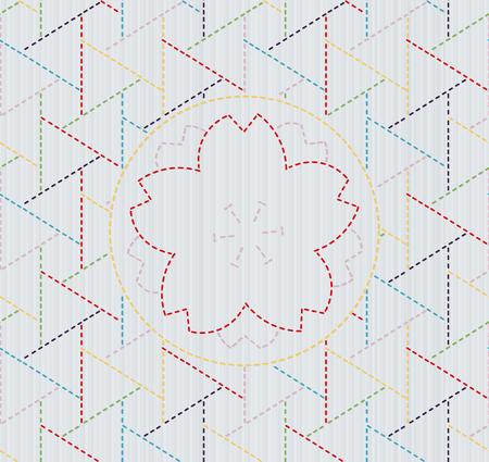 抽象的な日本縫製。刺し子。抽象的な背景。幾何学的な背景。クイリングのテクスチャです。パターンで埋めます。装飾または布で印刷。シームレ  イラスト・ベクター素材