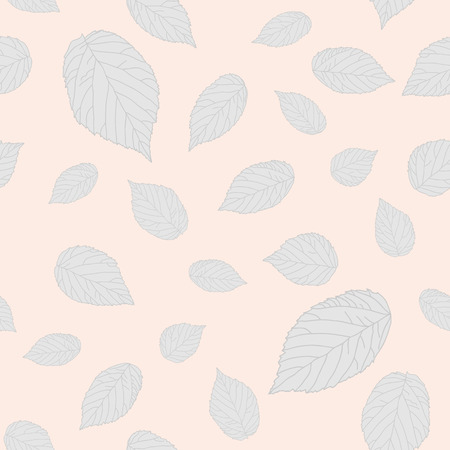 Bright pastel seamless pattern with light grey raspberry leaves. Plain endless background with blackberry or raspberry leaves for decoration. Ilustração