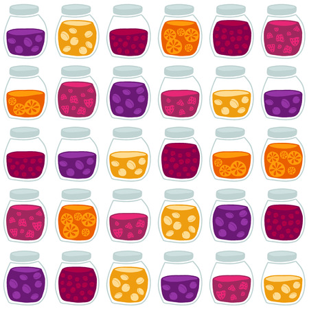 tinned goods: Fun seamless pattern with the colorful fruit jam jars. Shadeless plane ornate. Simple background with jam jars for decoration. Illustration