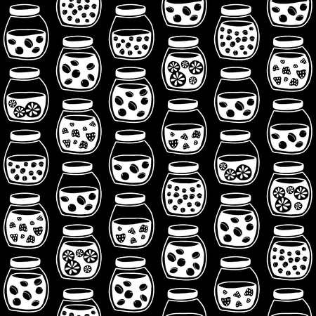 tinned goods: Black and White seamless pattern with the fruit jam jars. Shadeless plane ornate. Simple background with jam jars for decoration.