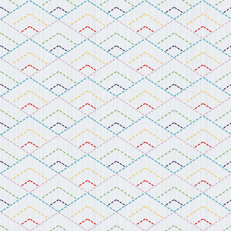 Traditional Japanese Embroidery Ornament with rhombuses. Vector seamless pattern. Sashiko motif - diamonds. Plain backdrop. Needlework texture.Japanese colorful stitching.