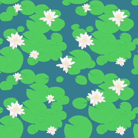 ピンク蓮池。シームレスなユリのパターン。水の花と植物。睡蓮と湖の背景。無限の飾り。無限の図。自然背景。