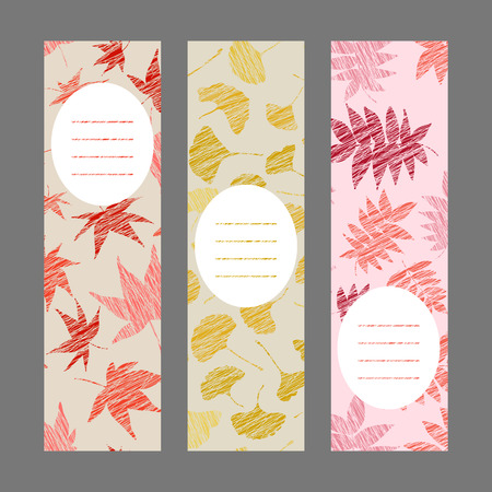Set of vertical autumn banners. Leaf ornaments. Scratched ginkgo, momiji and nanakamado flyers. Vector Illustration for banners. Maple, rowan and maidenhair leaves. Warm colors.