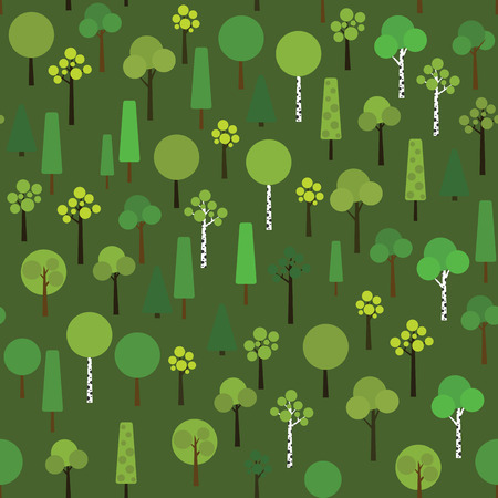 sample environment: Seamless pattern with geometric trees on a dark green background. Plain Nature Pattern for decoration or background. Texture with various trees in the wood or grove.