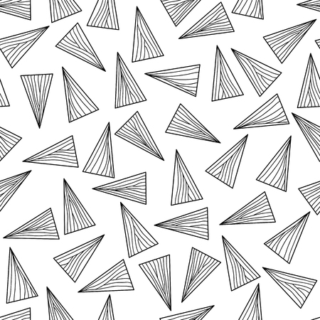 unstable: Black and white with lines and triangles. Seamless. Abstract delta texture. Monochrome puzzle background for decoration or backdrop. Unstable endless composition.