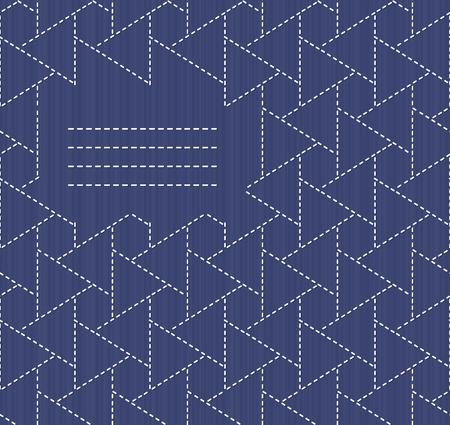 モノクロ刺し子モチーフ コピーのテキストのための領域。日本の手仕事の招待状。テキスト フレーム。抽象的な日本縫製。装飾的な質感。シームレ  イラスト・ベクター素材