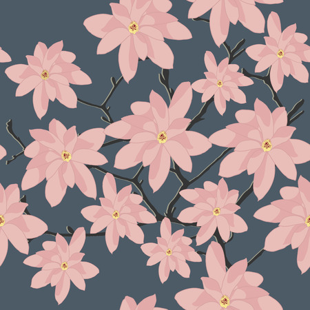 magnolia branch: Seamless Pattern with Pink Magnolia Branch on a Grey Background. Plain background with pink flowers for wallpaper or decoration.
