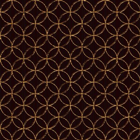 日本の刺し子をモチーフに基づくシームレスなパターン。黄金色。ファンと刺し子。抽象的な幾何学的な背景。刺し子モチーフ - 七つの宝 (七宝つな