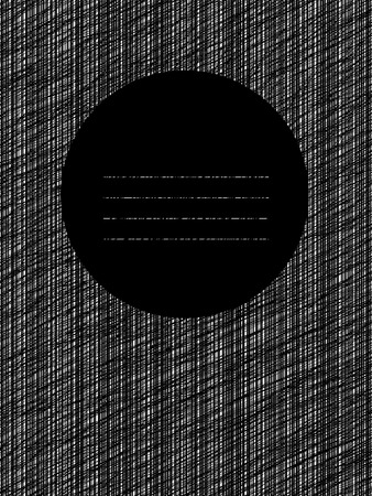 space for text: Postcard with abstract graphic elements. Scratched line circle. Decorative frame. Copy space for text. For postcard, poster or banner. Black and white vertical lines.