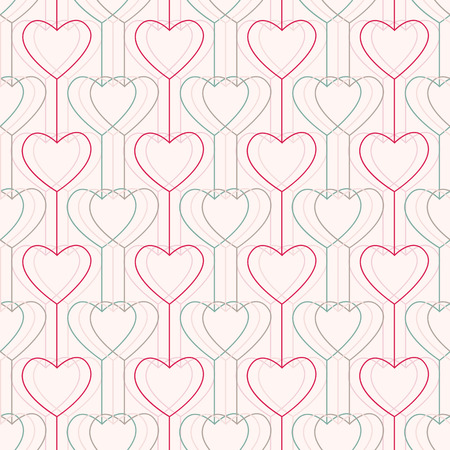 pale colors: Seamless pattern. Hearts and lines. For Valentines Day. Geometric. Stylized texture with hearts and circles. Pale colors. Abstract background.