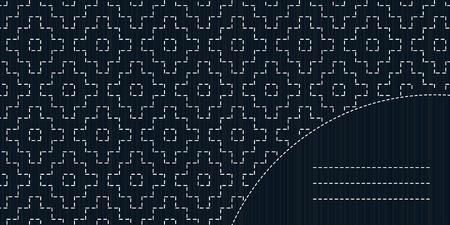 stitching: Japanese fancywork design. Text frame. Sashiko stitching backdrop. Monochrome template. Geometric sashiko template with copy space for text. Old Sashiko motif - Persimmon flower (Kaki no Hana).
