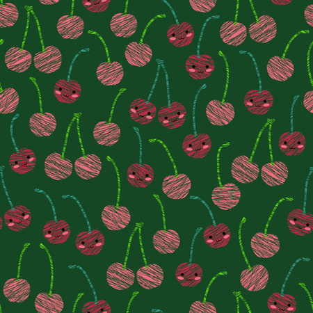 Seamless pattern with scratched smiling cherries, summer harvest background. Japanese manga style. Endless texture, fruit background. Dessert backdrop. Green background template.
