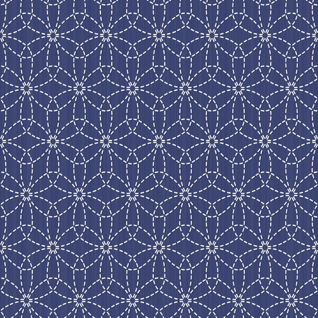 Antique japanese fancywork. Sashiko. Seamless pattern. Old Sashiko motif flower (Hana-Zashi). Abstract. Geometric background. Needlework texture. Pattern fills. For decoration or printing on fabric. Иллюстрация