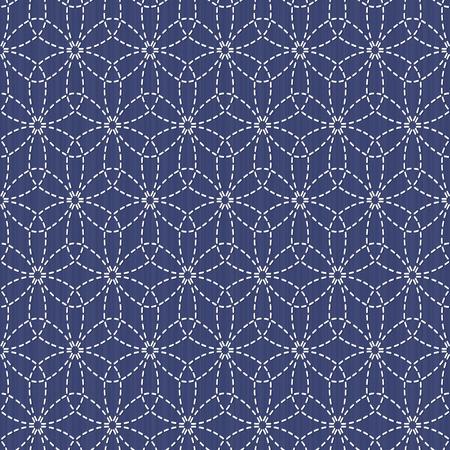 Antique japanese fancywork. Sashiko. Seamless pattern. Old Sashiko motif flower (Hana-Zashi). Abstract. Geometric background. Needlework texture. Pattern fills. For decoration or printing on fabric. Illustration