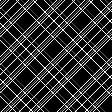 黒地に格子縞布で抽象的なシームレス パターン。モノクロでシンプルな市松模様テンプレート。装飾や背景のプレーンのタータンの背景。  イラスト・ベクター素材