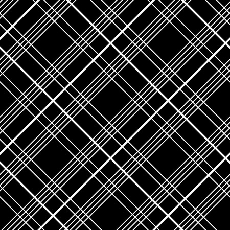 Abstract Seamless Pattern with Plaid Fabric on a black background. Simple checkered template in monochrome colors. Plain tartan background for decoration or backdrop. Ilustração