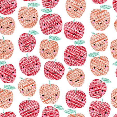Seamless pattern with scratched smiling apples, summer harvest background. Japanese manga style. Endless texture, fruit background. Dessert backdrop. White background template.