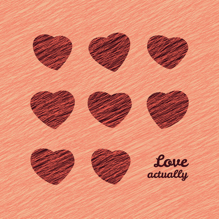 postcard romantic: Love actually Happy Valentines Day Greeting Postcard. Romantic Card with hearts. Sweet flyer with hearts. Grunge backdrop with scratches. Seamless pattern.