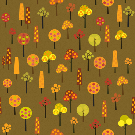 harvest time: Harvesting Fruits trees. Various apple, orange and pear trees in the fruit garden. Autumn season illustration with Fruit trees in Harvest time. Seamless vector pattern.