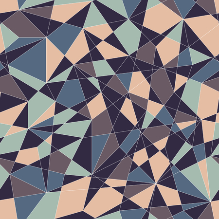 unstable: Abstract mosaic pattern with triangles. Seamless vector. Stylized texture with blue and grey triangles. Calm puzzle background for decoration or backdrop. Unstable composition. Illustration