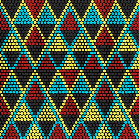 Hand drawn Ethnic background based on African ornaments. Stylized texture with triangles. Contrast background for decoration or backdrop. Ilustração