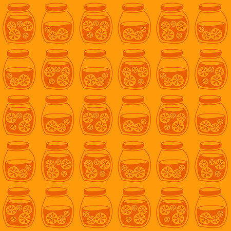 tinned: Funny seamless pattern with a colorful citrus jam jars. Plain shadeless background with oranges for decoration.